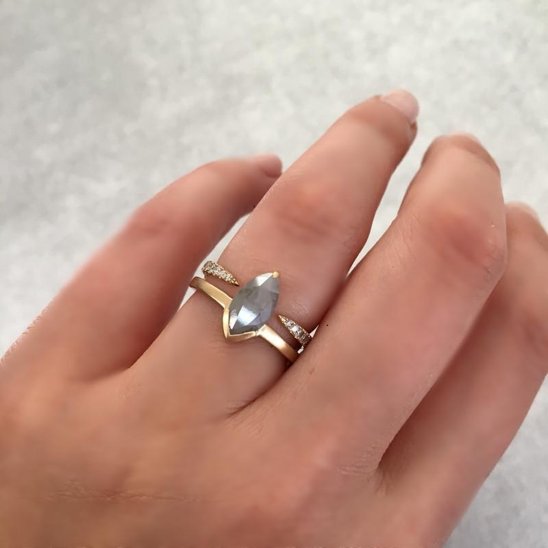 Attic Gold Attic Grey Marquise Diamond Duality Ring