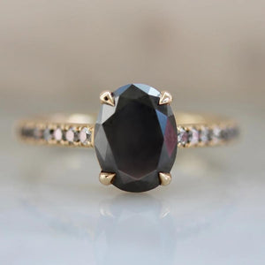 Attic Gold Ring Cora Grey Oval Cut Diamond Ring
