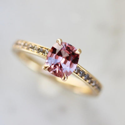 Attic Gold Ring Leila Padparadscha Pink & Diamond Sapphire Ring