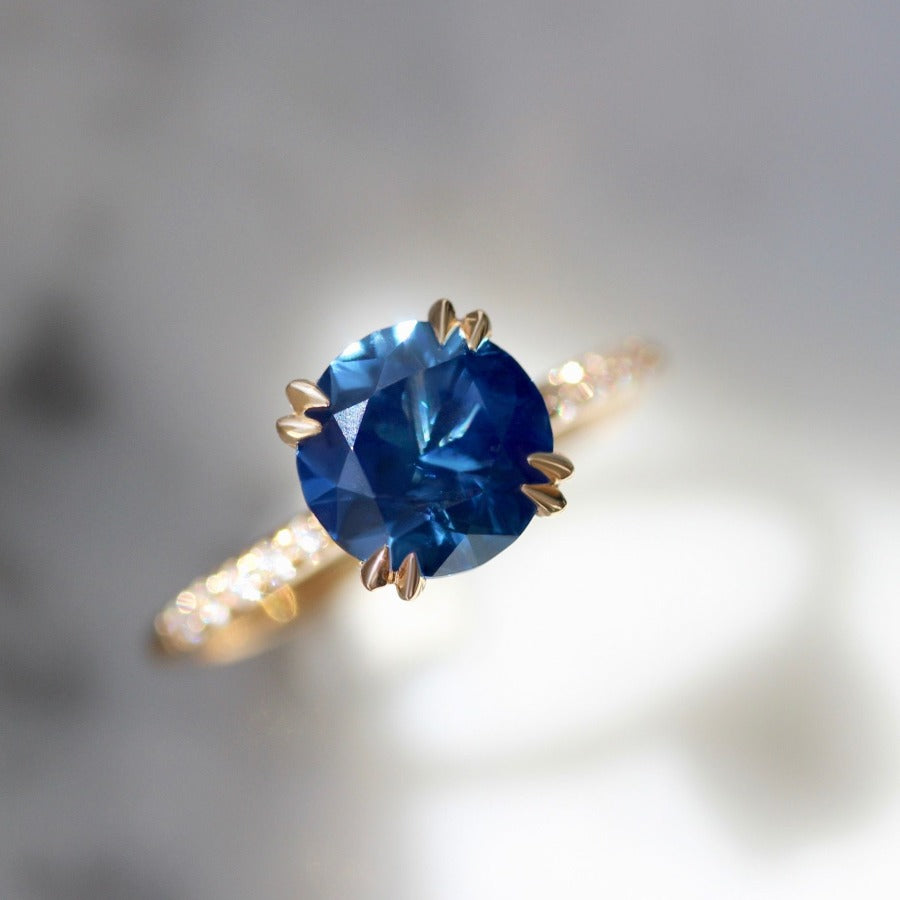2.60 Carat Capri Blue Sapphire Stella With Pave Shoulders In Peach Gold