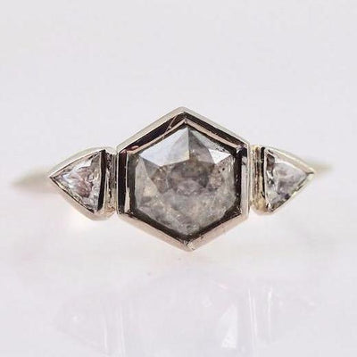 Ellie Air Ring Ellie Air Grey Hexagon Rose Cut Diamond Ring