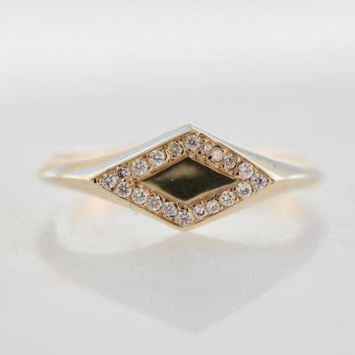 Ellie Air Ring Gold Pave Signet Ring