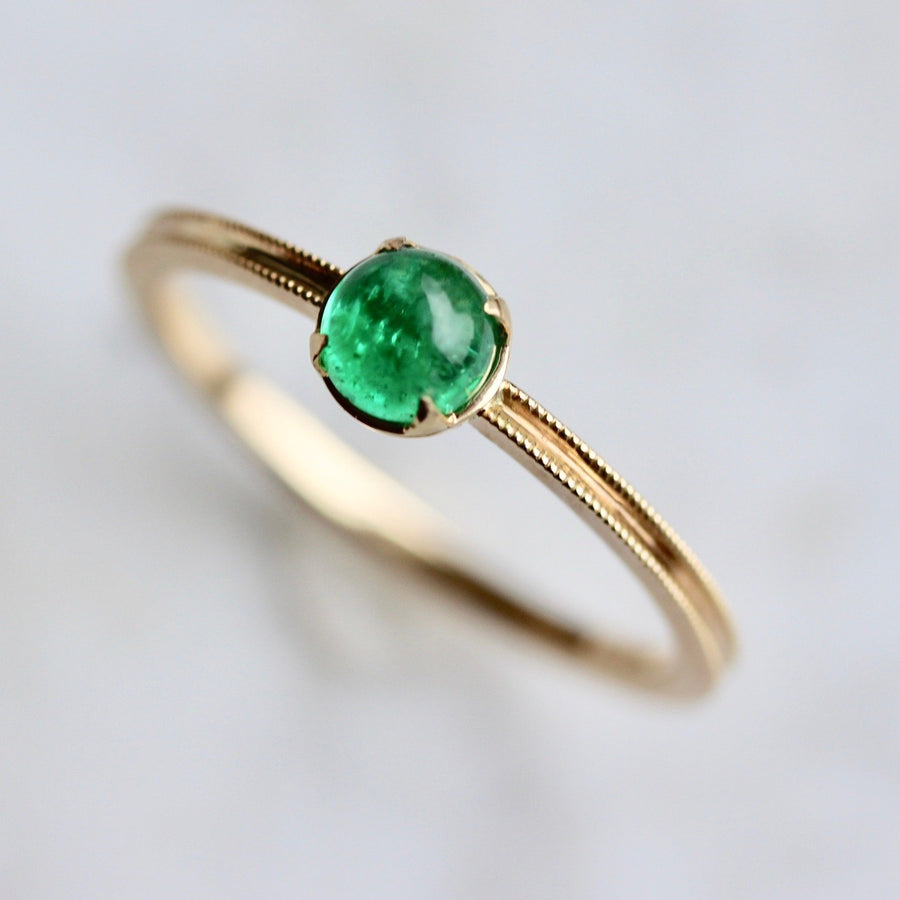 Elliot Gaskin Ring Current Ring Size 6.75 Chante Green Emerald Cabochon Ring