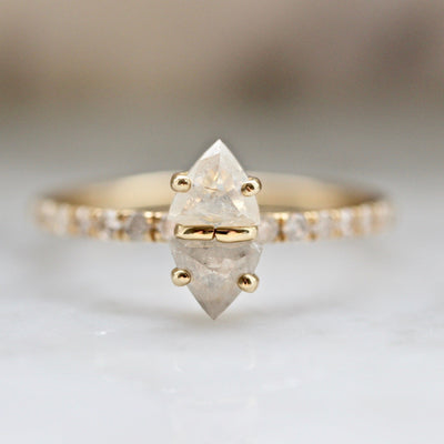 Elliot Gaskin Ring Current Ring Size 6.75 Icey Trillion Twin Diamond Ring