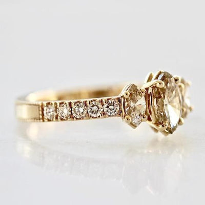 Elliot Gaskin Ring Three Stone Champagne Marquise Ring
