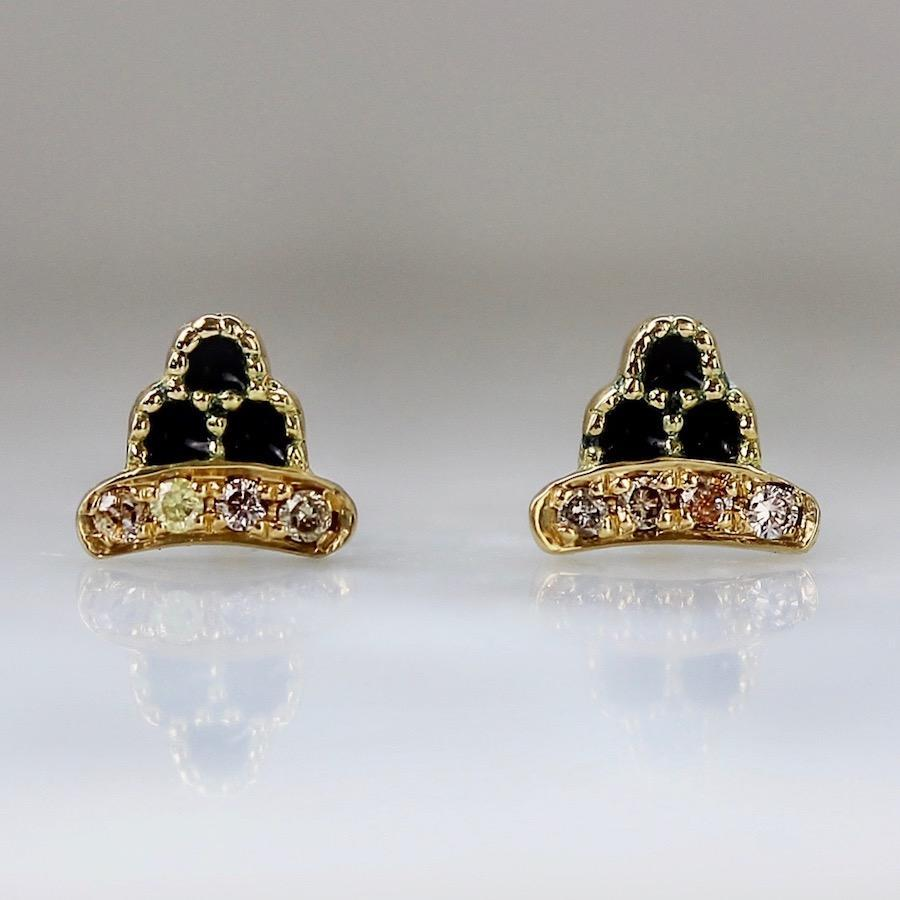 Emily Gill Earrings Sadie Enamel & Diamond Scalloped Earrings
