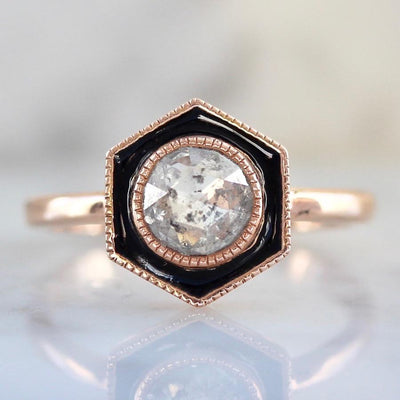 Emily Gill Ring Beyonce Black Hexagon Enamel Diamond Ring
