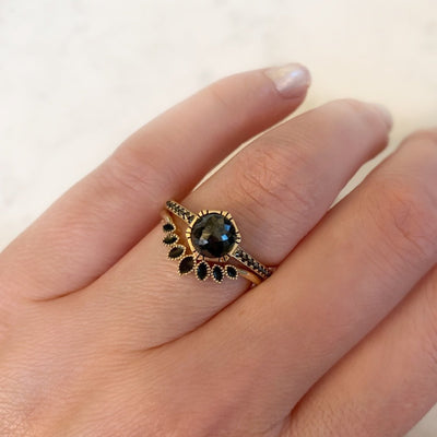Emily Gill Ring Bora Bora Black Enamel Stacking Ring