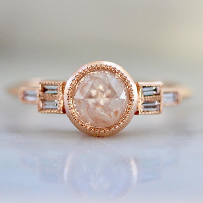 Emily Gill Ring Current Ring Size 6.25 Peach Adeline Diamond Ring in Rose Gold