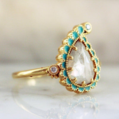 Emily Gill Ring Current Ring Size 6.75 Paisley Yellow Gold Enamel Diamond Ring