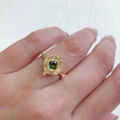 Emily Gill Ring Current Ring Size 7 Maggie Cushion Cut Green Sapphire &  Diamond Ring