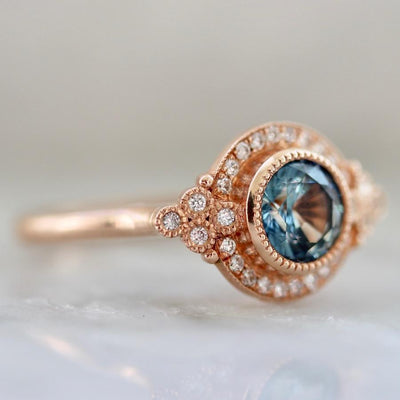 Emily Gill Ring Current Ring Size 7 Marlee Round Cut Teal Parti-Sapphire & Diamond Ring