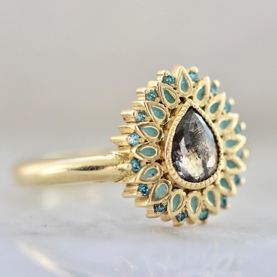 Emily Gill Ring Current Ring Size 8 Plume Teal Enamel & Halo Diamond Ring