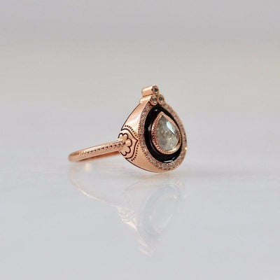 Emily Gill Ring Emily Gill Black Enamel Pear Cut Ring