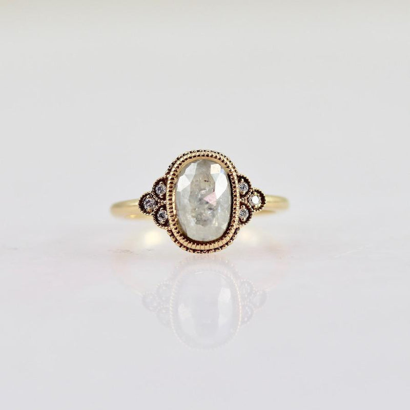 Emily Gill Ring Emily Gill Milky White Oval Rose Cut Diamond