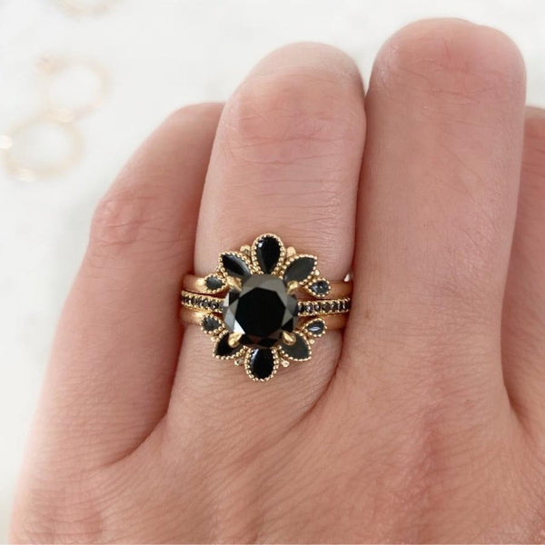 Emily Gill Ring Fiji Black Enamel Stacking Ring