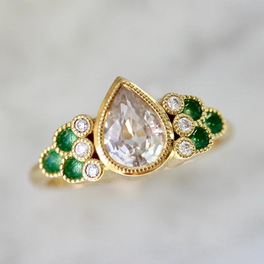 Emily Gill Ring Giselle White Sapphire & Enamel Ring in Yellow Gold