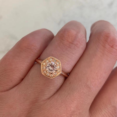 Emily Gill Ring Hattie Honeycomb Peach Sapphire & Rose Gold Ring