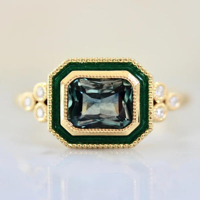 Emily Gill Ring Isolde Teal Sapphire & Enamel Ring in Yellow Gold