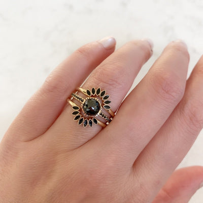 Emily Gill Ring Maya Black Enamel Stacking Ring