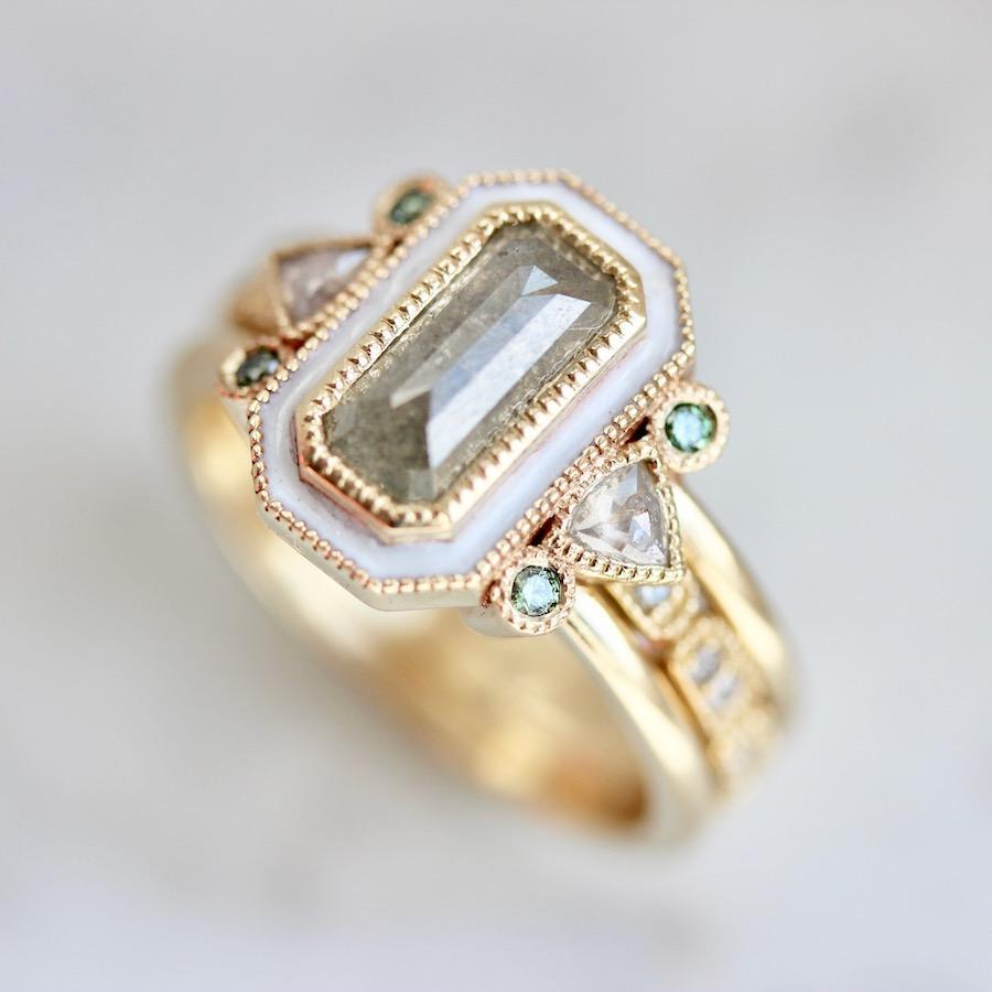 Emily Gill Ring Nightingale Grey Diamond And Enamel Ring