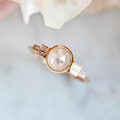 Emily Gill Ring Peach Adeline Diamond Ring in Rose Gold