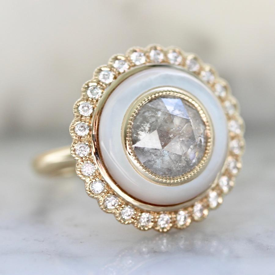 Emily Gill Ring Quinn Mother Of Pearl & Grey Rose Cut Diamond Ring