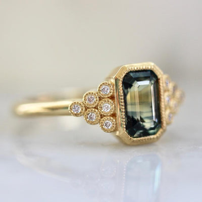 Emily Gill Ring Yves Green Sapphire & Diamond Ring in Yellow Gold