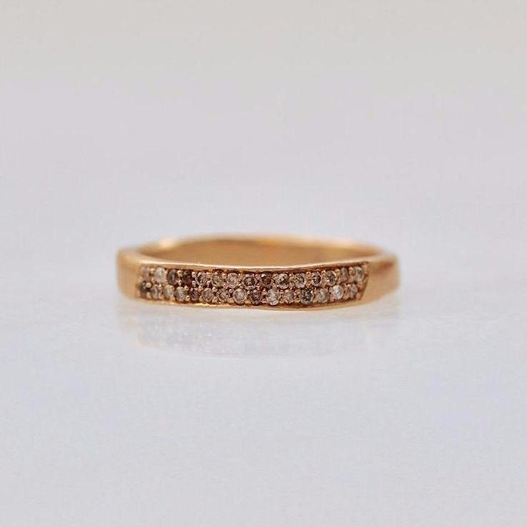Fluid Jewelry Ring Fluid Jewellery Diamond Pave Rose Gold Band