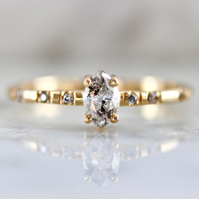 Foe And Dear Ring Double Star Marquise Salt and Pepper Diamond Ring