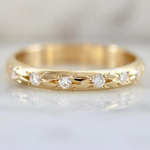 Foe And Dear Ring Galaxy Wide Diamond Gold Ring