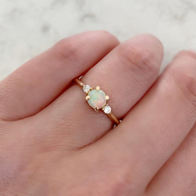 Foe And Dear Ring Polaris Opal And Diamond Ring