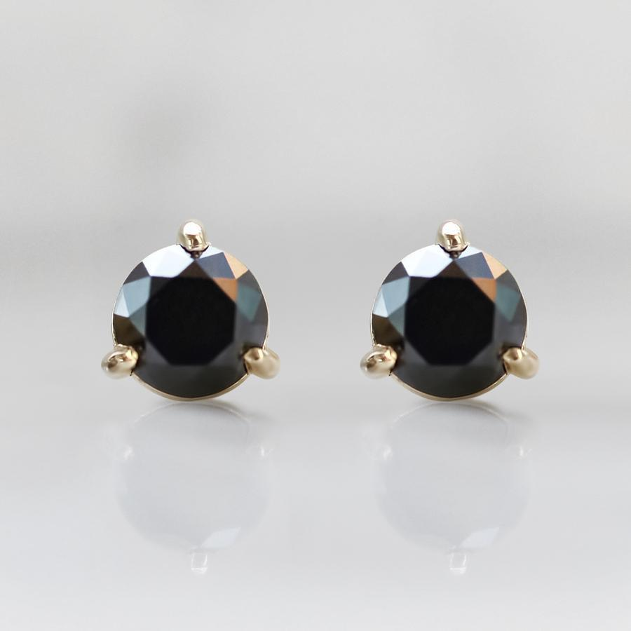 Gem Breakfast Bespoke Earrings 1.52 Carats Total Round Cut Black Diamond Earrings