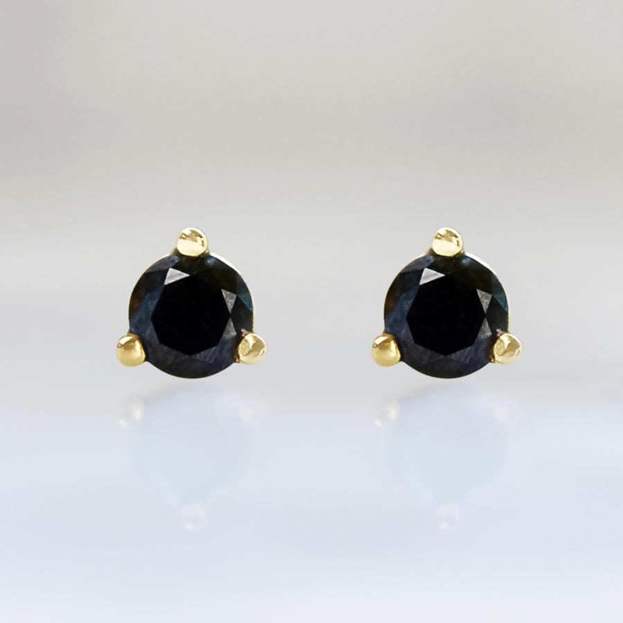 Gem Breakfast Bespoke Earrings .22 Carats Total Round Cut Black Diamond Earrings