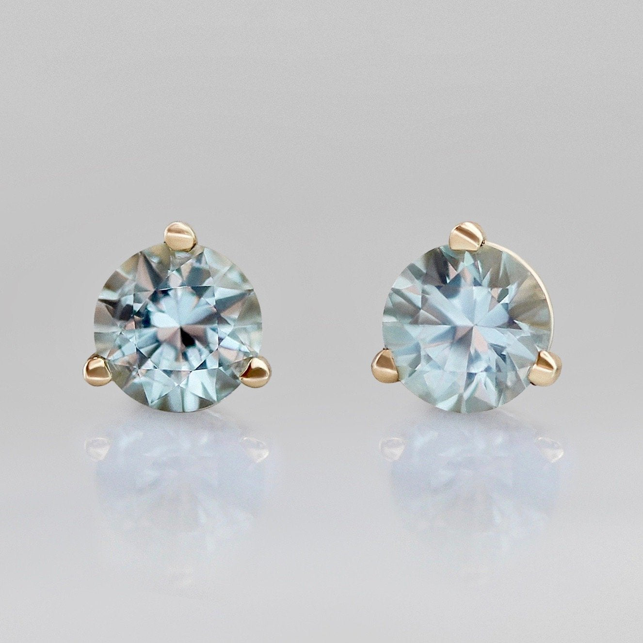 Gem Breakfast Bespoke Earrings .82 Carats Total Round Cut Teal Montana Sapphire Earrings