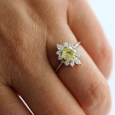 Gem Breakfast Bespoke Ring Asteri Yellow Hexagon Diamond Ring