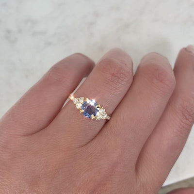 Gem Breakfast Bespoke Ring Blue Spritz Rose Cut Blue Sapphire & Diamond Ring