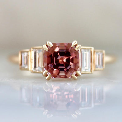 Gem Breakfast Bespoke Ring Cassidy Asscher Cut Morganite & Diamond Ring