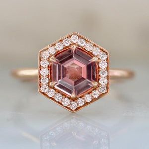 Gem Breakfast Bespoke Ring Clover Hexagon Cut Pink Sapphire Ring