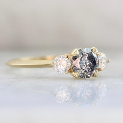 Gem Breakfast Bespoke Ring Fool In Love Three Stone Salt & Pepper Diamond Ring