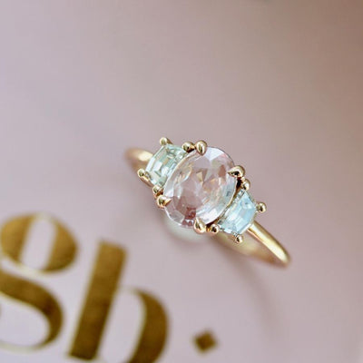 Gem Breakfast Bespoke Ring Lex Peach Sapphire & Diamond Ring in Rose Gold