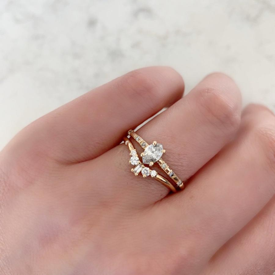 Gem Breakfast Bespoke Ring Petite Diamond Stacking Curved Band