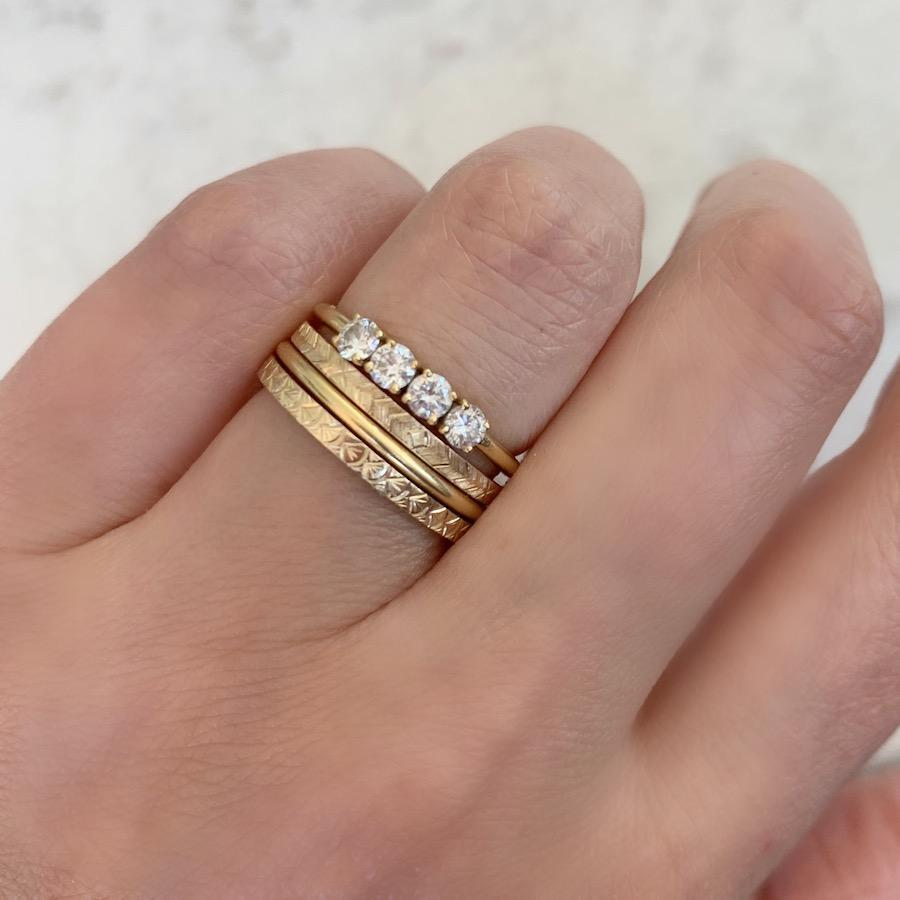 Gem Breakfast Bespoke Ring Run Wild Engraved Gold Band