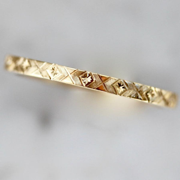 Gem Breakfast Bespoke Ring Starburst Engraved Gold Band