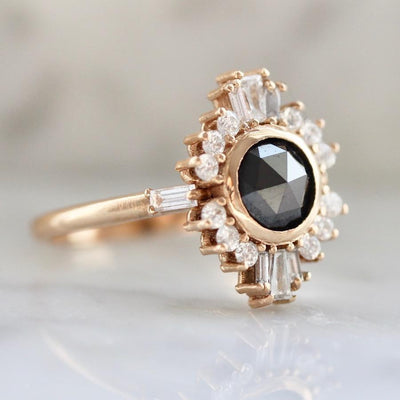 Gem Breakfast Bespoke Ring Starlight Black Rose Cut Diamond Ballerina Ring