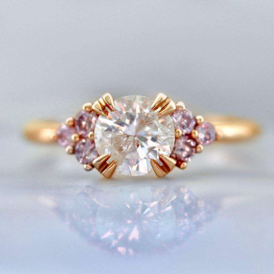 Gem Breakfast Bespoke Ring Sugar Rush Icey Salt & Pepper & Pink Diamond Ring