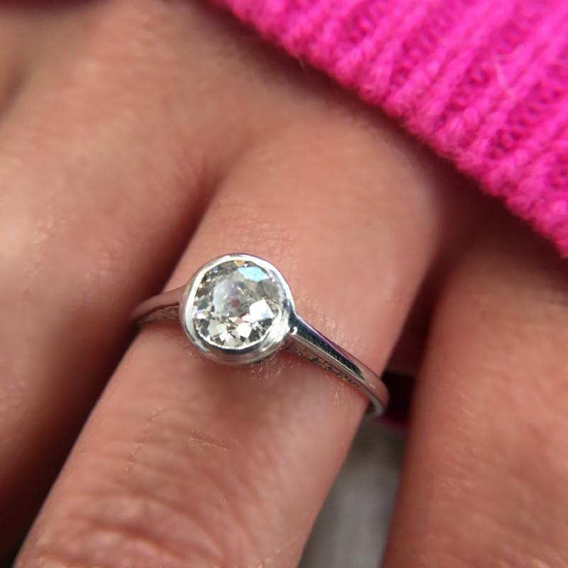 Gem Breakfast Tansy Old Mine Cushion Diamond Ring