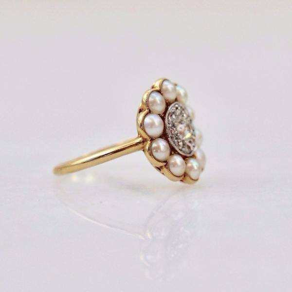 Gem Breakfast Vintage Ring Abigail Diamond & Pearl Ring