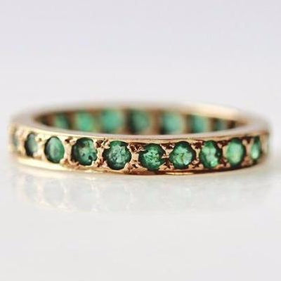 Gem Breakfast Vintage Ring Emerald And Gold Band