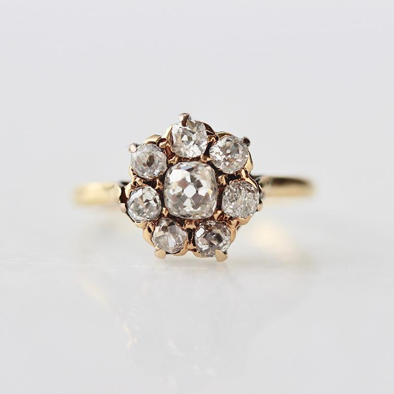 Gem Breakfast Vintage Ring Emily Old Mine Cut Cluster Ring